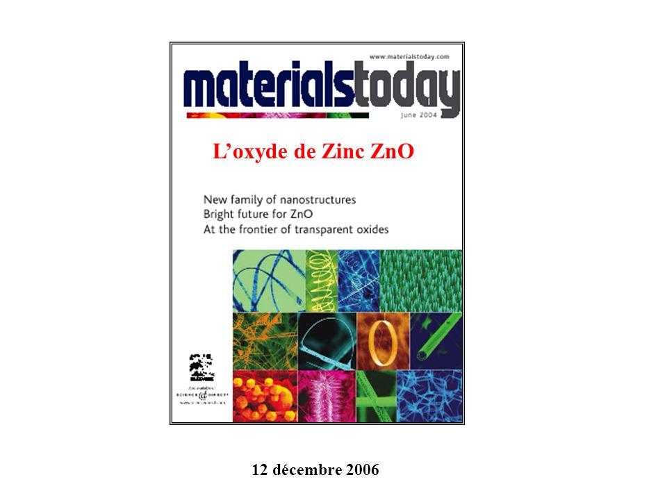 Loxyde de Zinc ZnO 12 décembre 2006