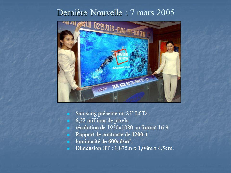 Dernière Nouvelle : Dernière Nouvelle : 7 mars 2005 Samsung présente un 82 LCD.