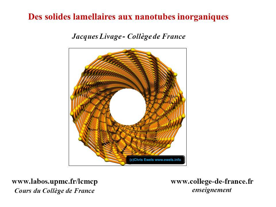Des solides lamellaires aux nanotubes inorganiques Jacques Livage - Collège de France www.labos.upmc.fr/lcmcp Cours du Collège de France www.college-d