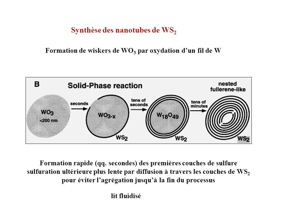 Synthèse des nanotubes de WS 2 Formation de wiskers de WO 3 par oxydation dun fil de W Formation rapide (qq. secondes) des premières couches de sulfur