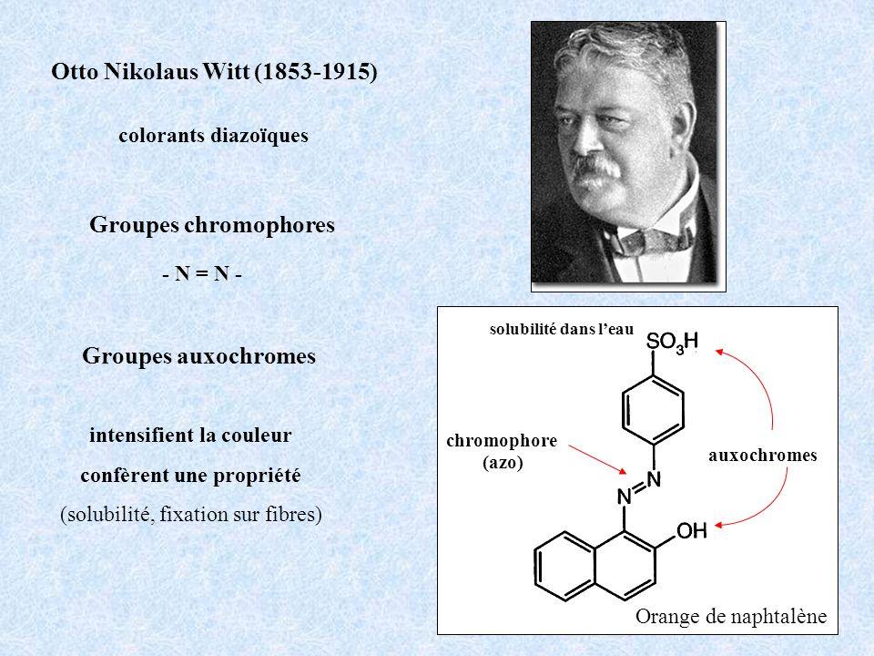Groupes chromophores Groupes auxochromes Otto Nikolaus Witt (1853-1915) chromophore (azo) auxochromes Orange de naphtalène solubilité dans leau intens