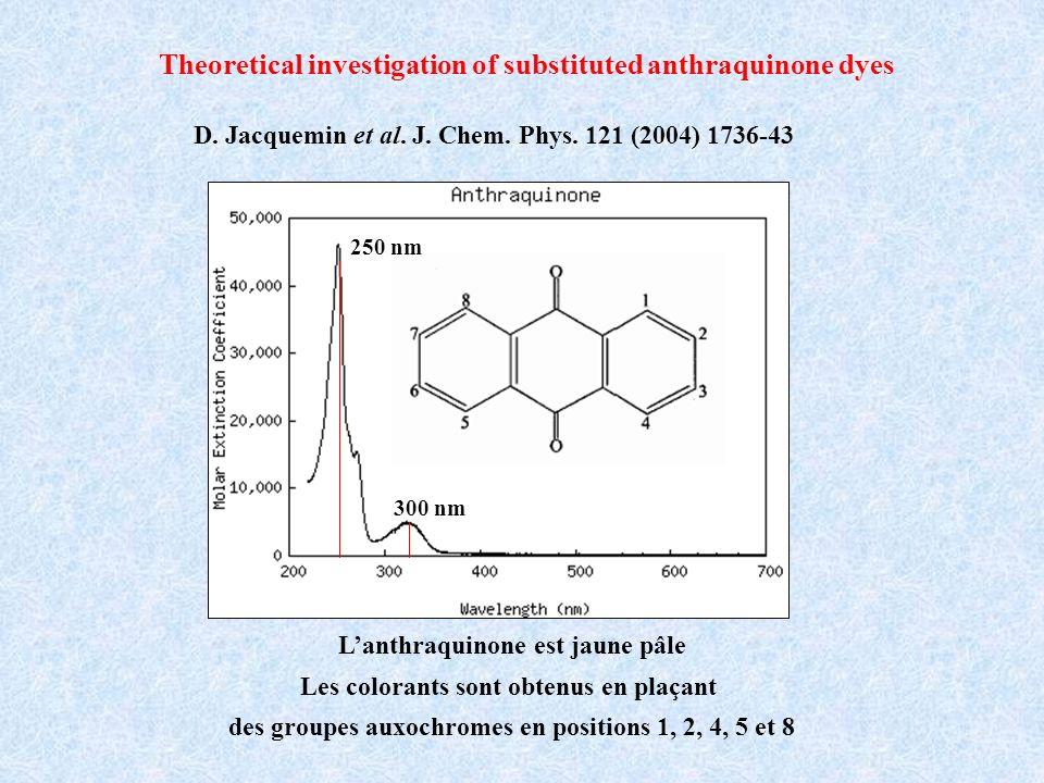 Lanthraquinone est jaune pâle Les colorants sont obtenus en plaçant des groupes auxochromes en positions 1, 2, 4, 5 et 8 D. Jacquemin et al. J. Chem.