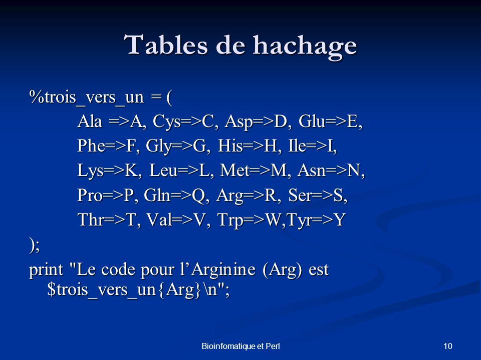 10Bioinfomatique et Perl Tables de hachage %trois_vers_un = ( Ala =>A, Cys=>C, Asp=>D, Glu=>E, Ala =>A, Cys=>C, Asp=>D, Glu=>E, Phe=>F, Gly=>G, His=>H