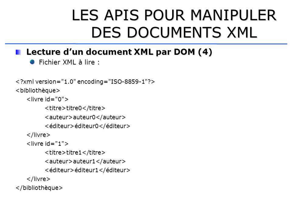 LES APIS POUR MANIPULER DES DOCUMENTS XML Lecture dun document XML par DOM (4) Fichier XML à lire : <bibliothèque> <titre>titre0</titre><auteur>auteur0</auteur><éditeur>éditeur0</éditeur></livre> <titre>titre1</titre><auteur>auteur1</auteur><éditeur>éditeur1</éditeur></livre></bibliothèque>