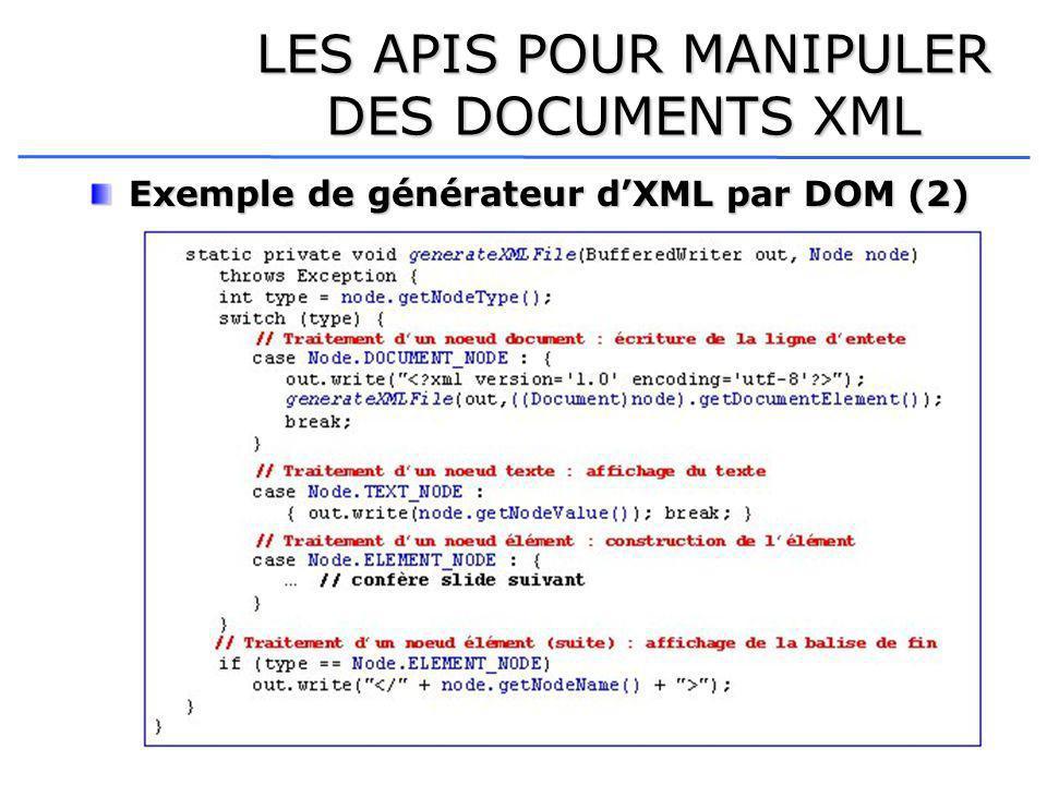 LES APIS POUR MANIPULER DES DOCUMENTS XML Exemple de générateur dXML par DOM (2)