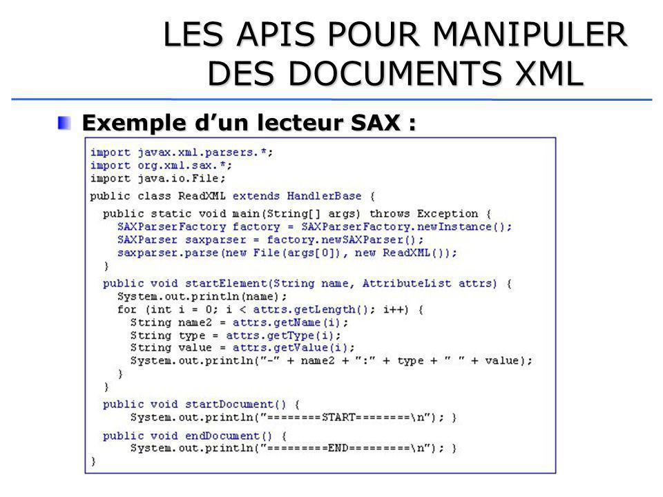 LES APIS POUR MANIPULER DES DOCUMENTS XML Exemple dun lecteur SAX :