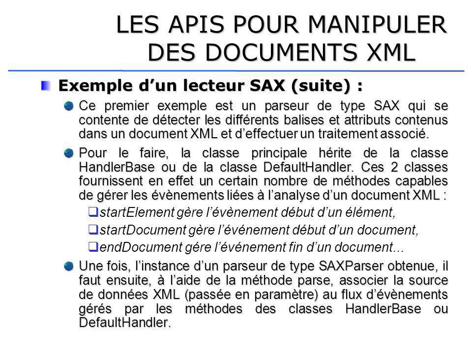 LES APIS POUR MANIPULER DES DOCUMENTS XML Exemple dun lecteur SAX (suite) : Ce premier exemple est un parseur de type SAX qui se contente de détecter les différents balises et attributs contenus dans un document XML et deffectuer un traitement associé.