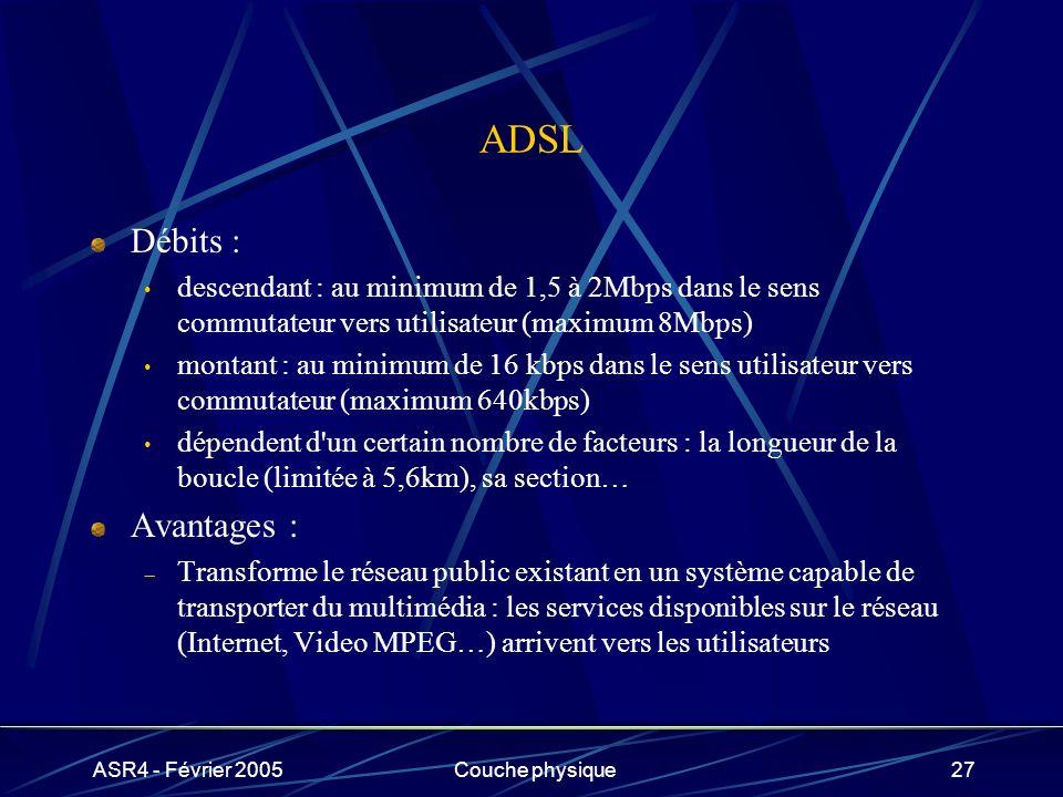 ASR4 - Février 2005Couche physique27 ADSL Débits : descendant : au minimum de 1,5 à 2Mbps dans le sens commutateur vers utilisateur (maximum 8Mbps) mo