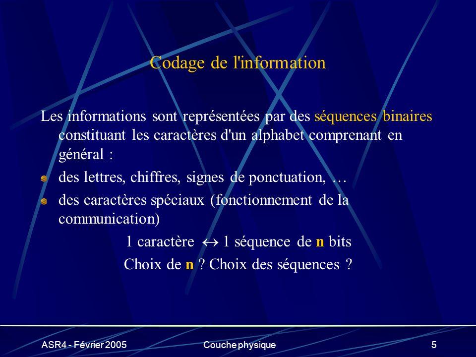 ASR4 - Février 2005Couche physique5 Codage de l'information Les informations sont représentées par des séquences binaires constituant les caractères d