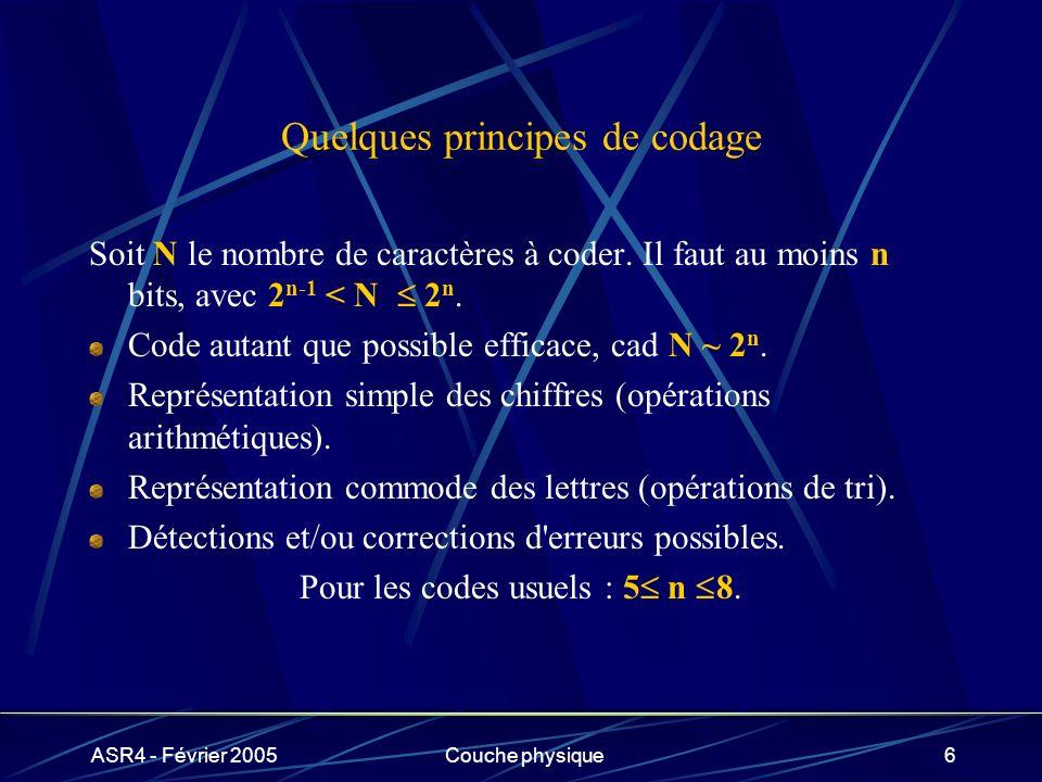 ASR4 - Février 2005Couche physique6 Quelques principes de codage Soit N le nombre de caractères à coder. Il faut au moins n bits, avec 2 n-1 < N 2 n.