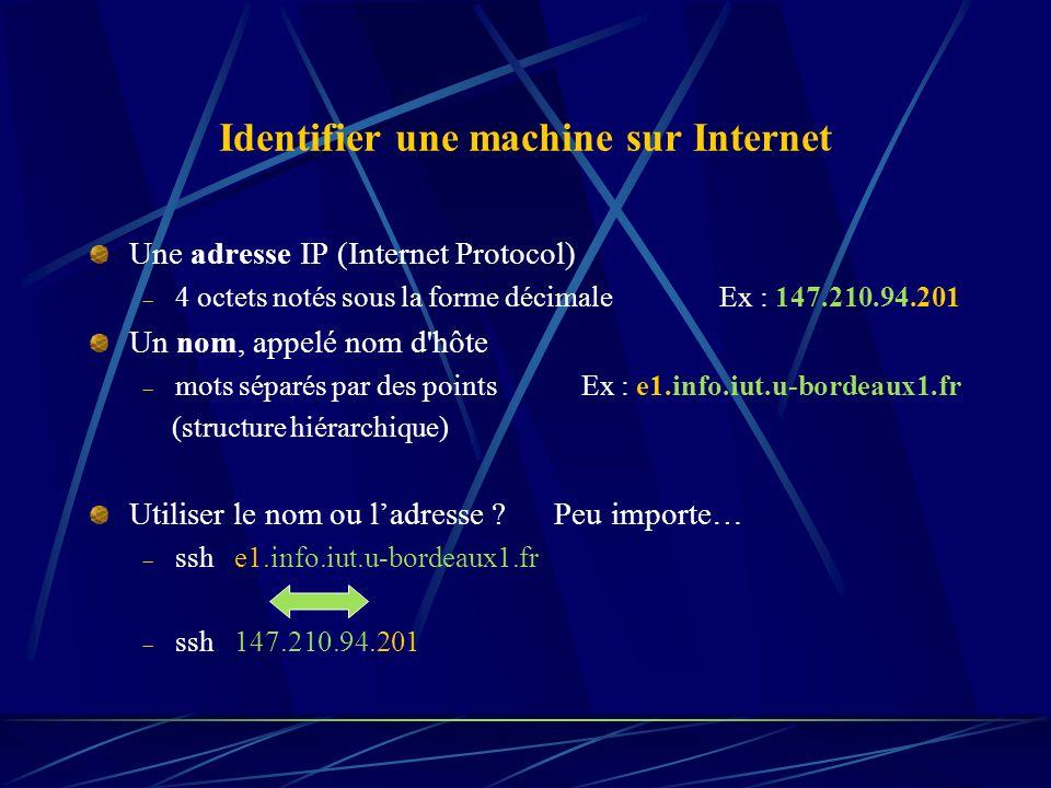 Identifier une machine sur Internet Une adresse IP (Internet Protocol) 4 octets notés sous la forme décimale Ex : 147.210.94.201 Un nom, appelé nom d'