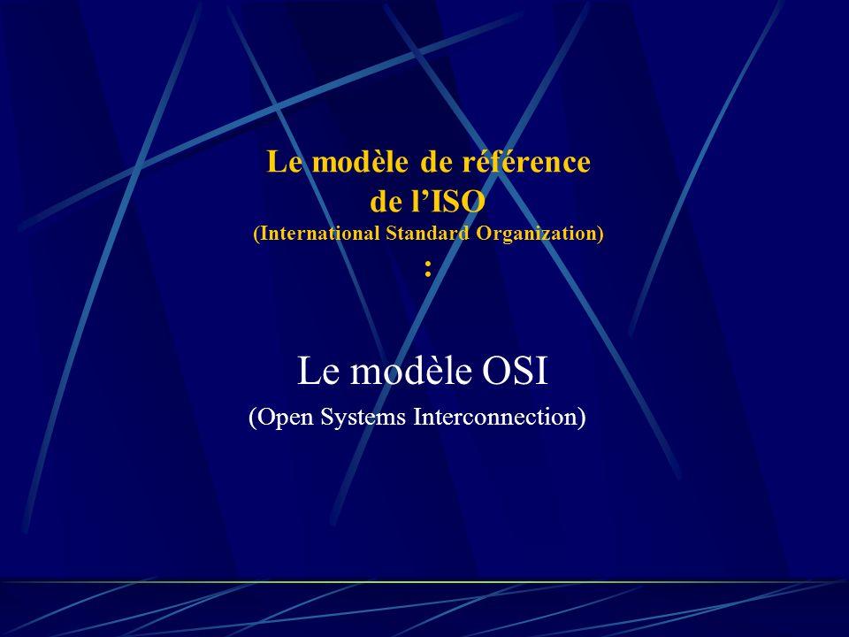Le modèle de référence de lISO (International Standard Organization) : Le modèle OSI (Open Systems Interconnection)