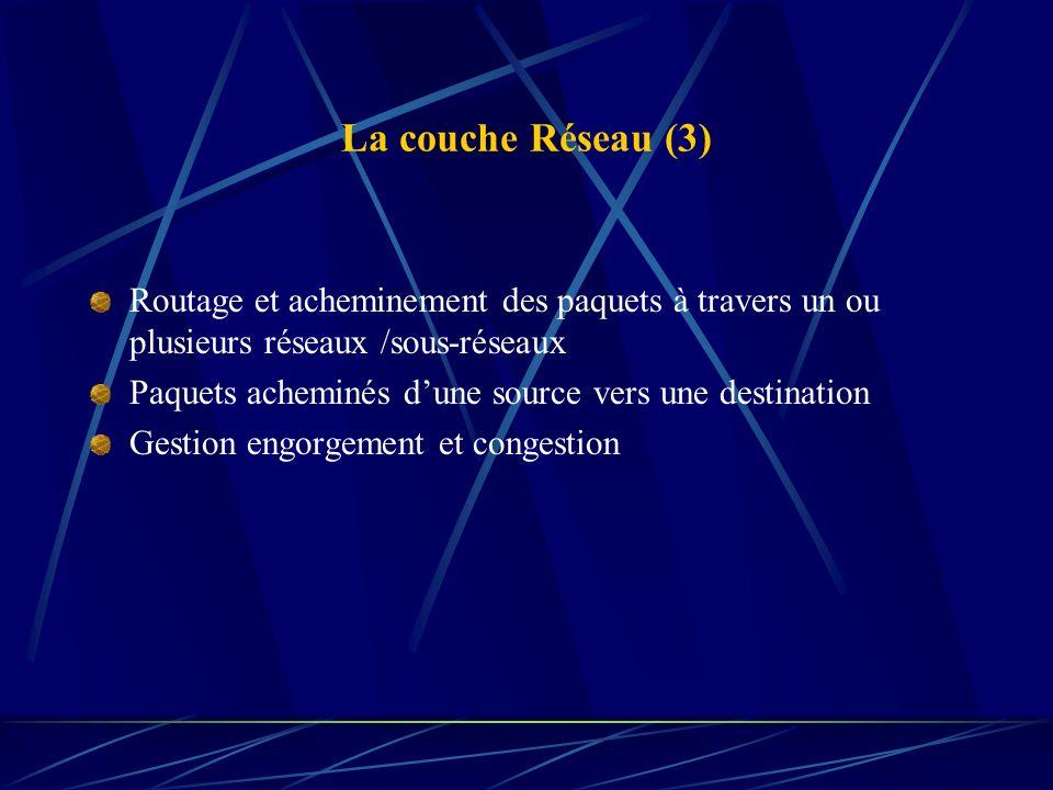 La couche Réseau (3) Routage et acheminement des paquets à travers un ou plusieurs réseaux /sous-réseaux Paquets acheminés dune source vers une destin