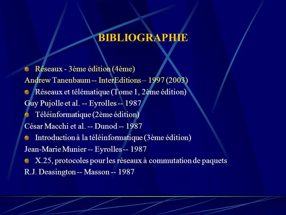 BIBLIOGRAPHIE Réseaux - 3ème édition (4ème) Andrew Tanenbaum -- InterEditions – 1997 (2003) Réseaux et télématique (Tome 1, 2ème édition) Guy Pujolle