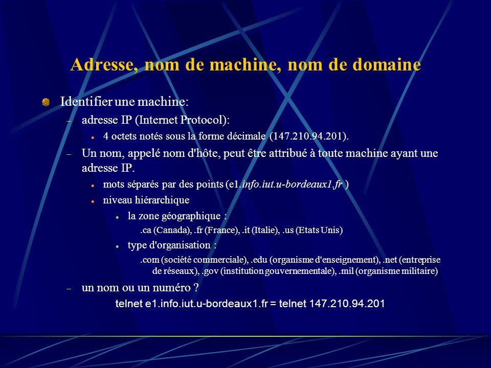 Adresse, nom de machine, nom de domaine Identifier une machine: adresse IP (Internet Protocol): 4 octets notés sous la forme décimale (147.210.94.201)