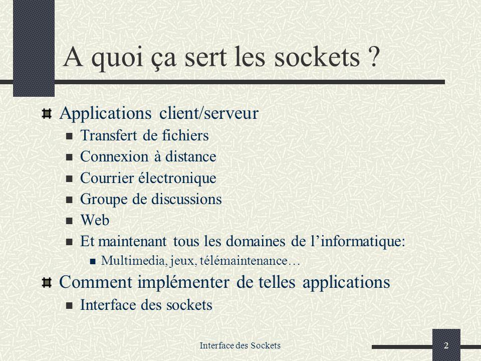 Interface des Sockets23 Diverses primitives utiles… struct hostent gethostbyname(char *name) pour traduire un nom de domaine en adresse IP struct hostent *h; h=gethostbyname( stargate.ist.ga ); printf( adresse IP: %s\n , inet_ntoa(*((struct in_addr *)h->h_addr))); getservbyname() pour traduire en n° de port le nom d un service getsockname(int desc, struct sock_addr * p_adr, int * p_longueur) pour récupérer ladresse effective dune socket (après bind)