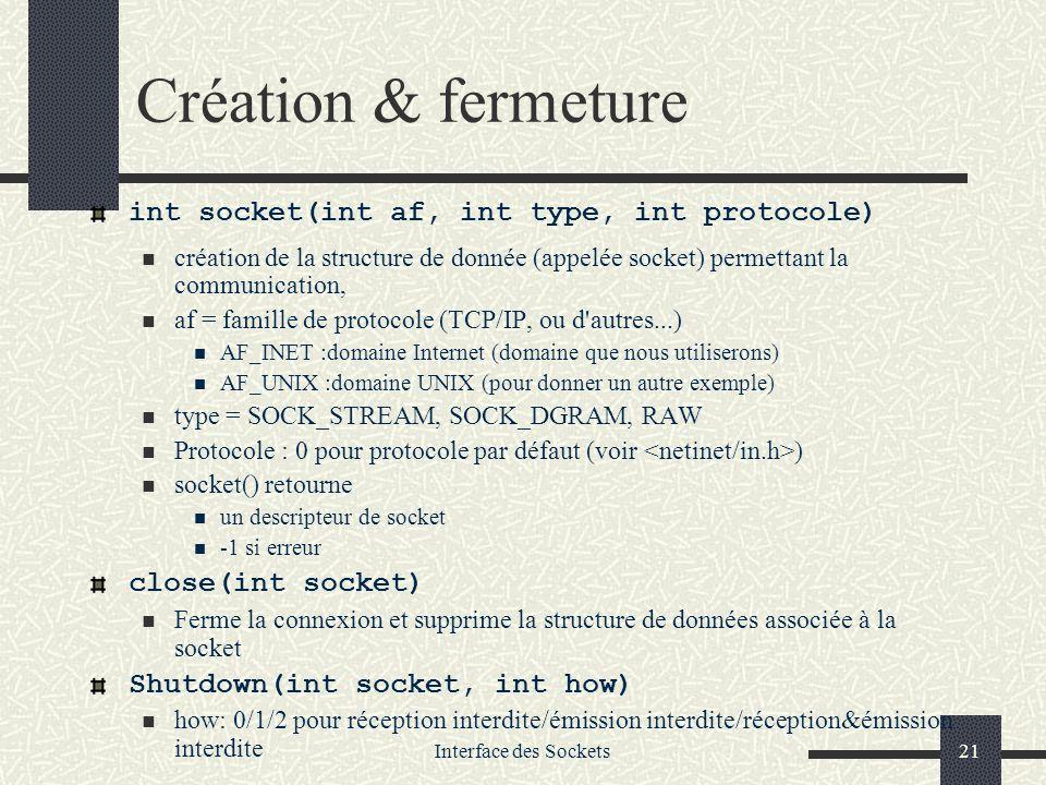 Interface des Sockets21 Création & fermeture int socket(int af, int type, int protocole) création de la structure de donnée (appelée socket) permettan