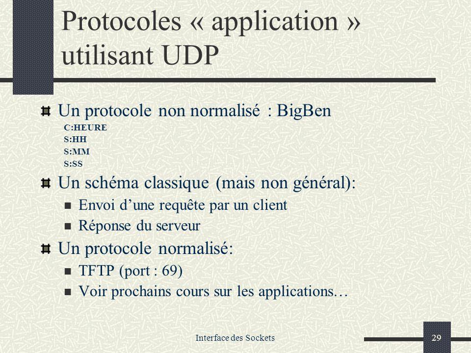 Interface des Sockets29 Protocoles « application » utilisant UDP Un protocole non normalisé : BigBen C:HEURE S:HH S:MM S:SS Un schéma classique (mais