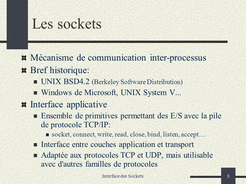 Interface des Sockets24 Conversion Network Byte Order (68000) – Host Byte Order (Intel) htons(): Host to Network Short htonl(): Host to Network Long ntohs(): Network to Host to Short ntohl(): Network to Host to Long ATTENTION: toujours mettre les octets dans lordre Network Order avant de les envoyer sur le réseau in_addr inet_addr(char *) Convertit une adresse ASCII en entier long signé (en Network Order) socket_ad.sin_addr.s_addr = inet_addr( 172.16.94.100 ) char * inet_ntoa(in_addr) Convertit entier long signé en une adresse ASCII char *ad1_ascii; ad1_ascii=inet_ntoa(socket_ad.sin_addr), printf( adresse: %s\n ,ad1_ascii);