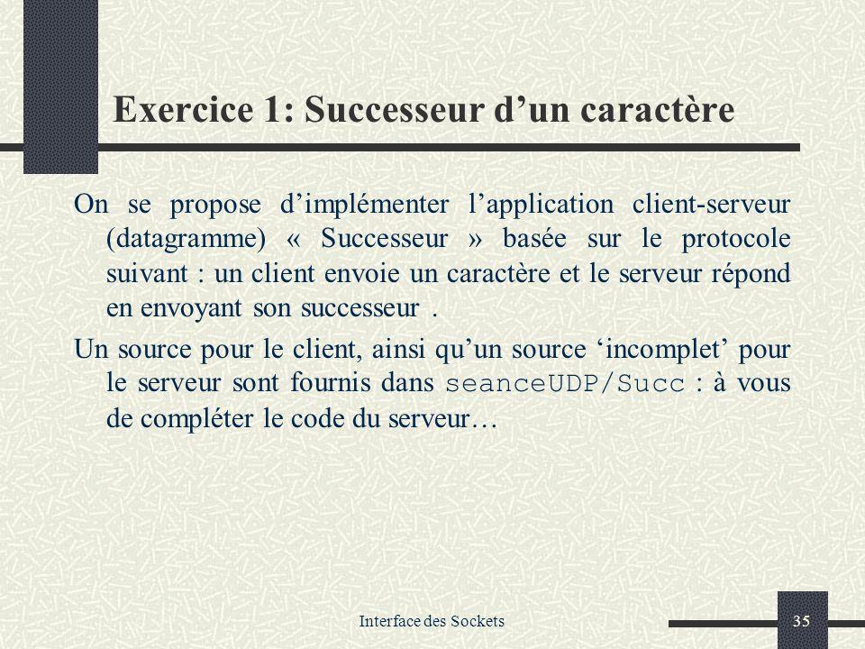 Interface des Sockets35 Exercice 1: Successeur dun caractère On se propose dimplémenter lapplication client-serveur (datagramme) « Successeur » basée