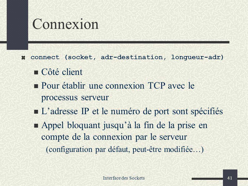 Interface des Sockets41 Connexion connect (socket, adr-destination, longueur-adr) Côté client Pour établir une connexion TCP avec le processus serveur