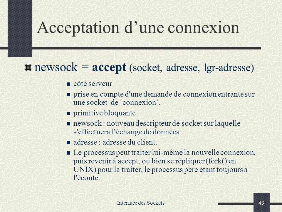 Interface des Sockets43 Acceptation dune connexion newsock = accept (socket, adresse, lgr-adresse) côté serveur prise en compte d'une demande de conne