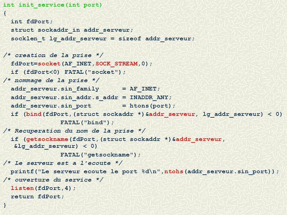 int init_service(int port) { int fdPort; struct sockaddr_in addr_serveur; socklen_t lg_addr_serveur = sizeof addr_serveur; /* creation de la prise */