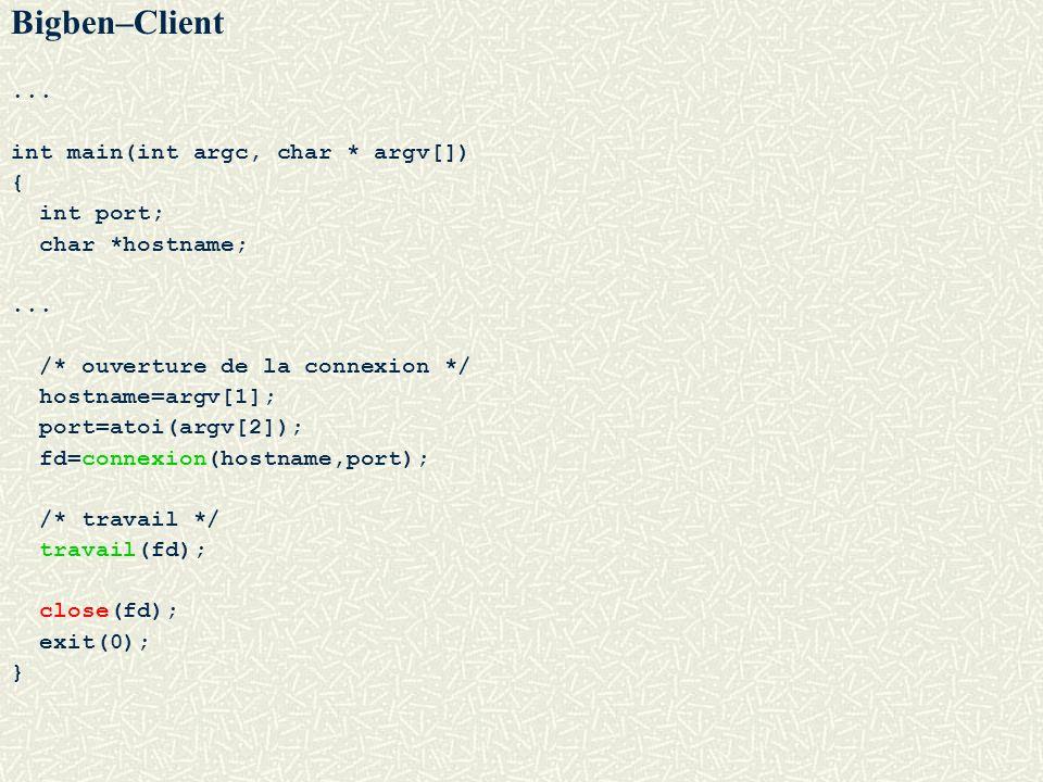 Bigben–Client... int main(int argc, char * argv[]) { int port; char *hostname;... /* ouverture de la connexion */ hostname=argv[1]; port=atoi(argv[2])