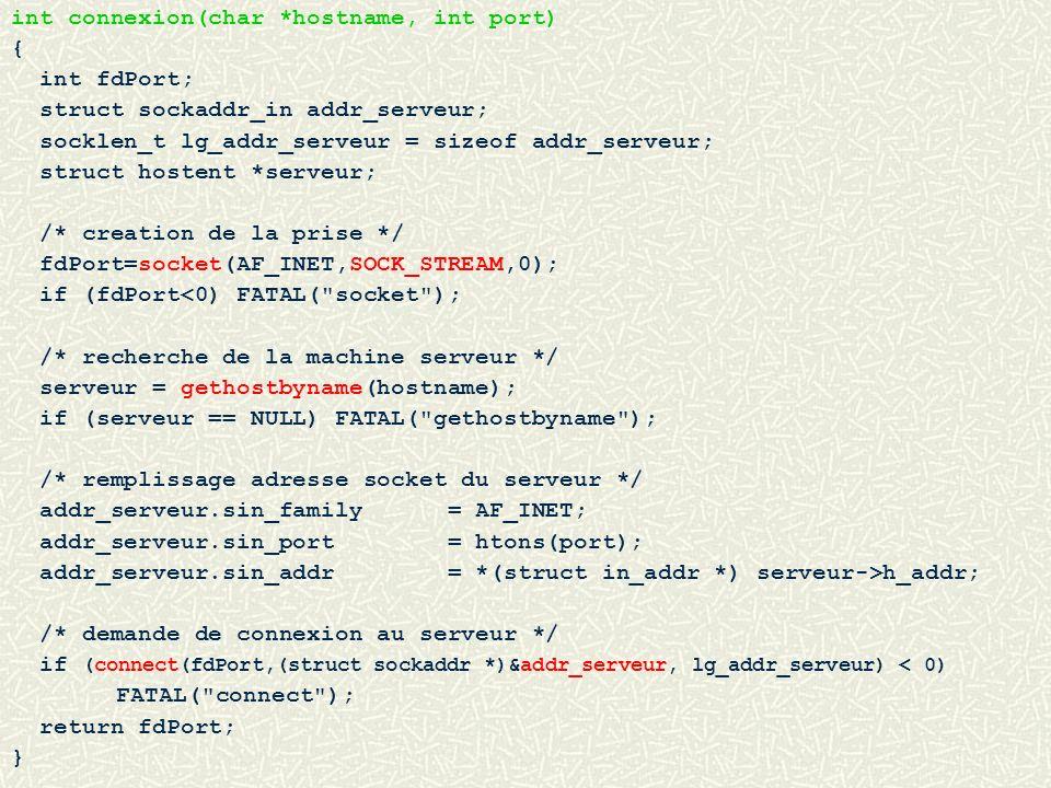 int connexion(char *hostname, int port) { int fdPort; struct sockaddr_in addr_serveur; socklen_t lg_addr_serveur = sizeof addr_serveur; struct hostent