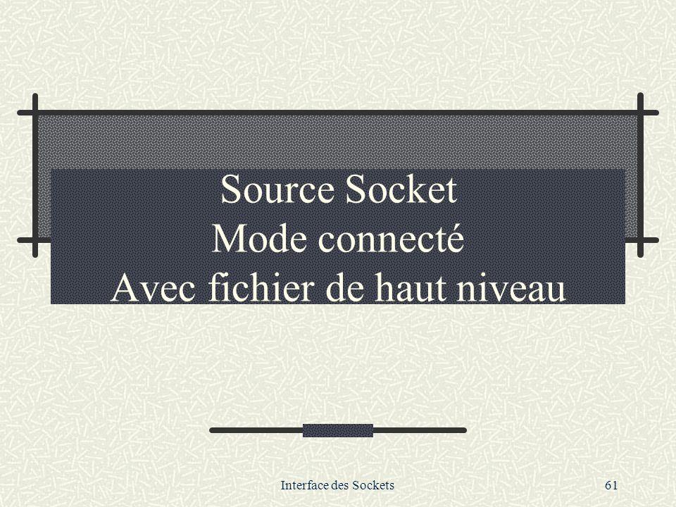 Interface des Sockets61 Source Socket Mode connecté Avec fichier de haut niveau