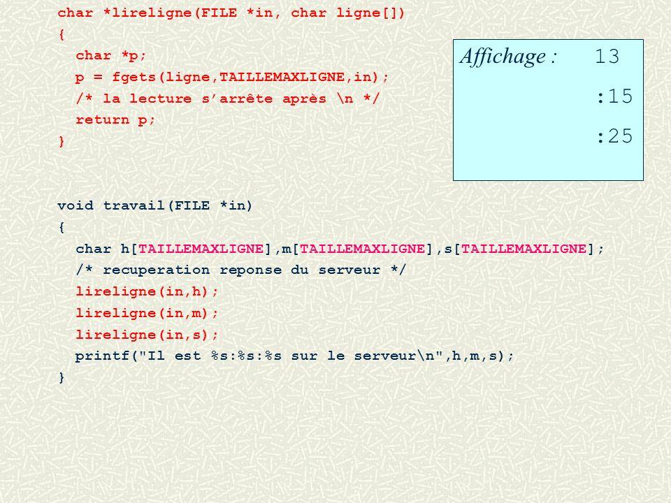 char *lireligne(FILE *in, char ligne[]) { char *p; p = fgets(ligne,TAILLEMAXLIGNE,in); /* la lecture sarrête après \n */ return p; } void travail(FILE