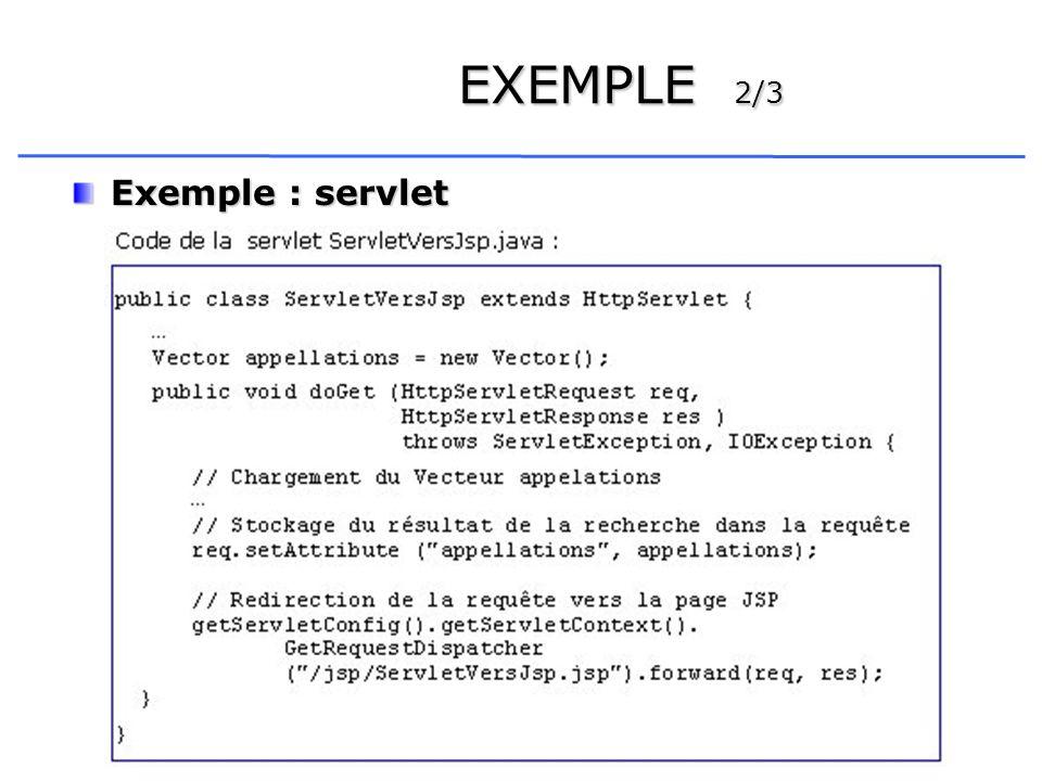 12 EXEMPLE 2/3 Exemple : servlet