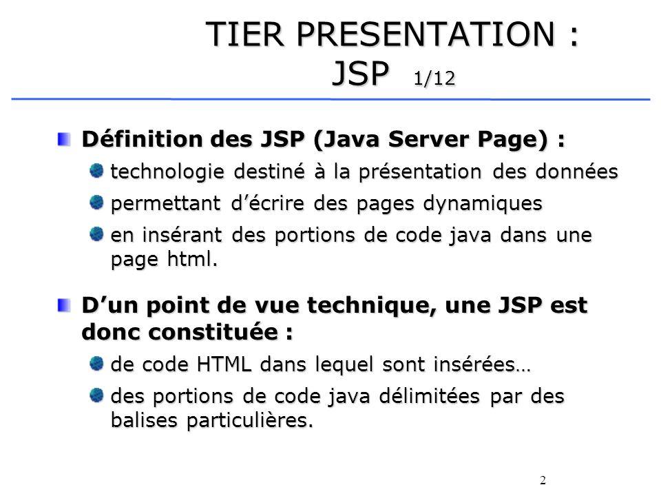 2 TIER PRESENTATION : JSP 1/12 Définition des JSP (Java Server Page) : technologie destiné à la présentation des données permettant décrire des pages dynamiques en insérant des portions de code java dans une page html.