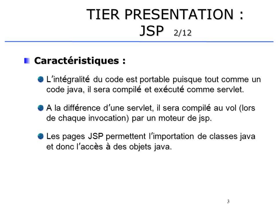 3 TIER PRESENTATION : JSP 2/12 Caractéristiques : L int é gralit é du code est portable puisque tout comme un code java, il sera compil é et ex é cut é comme servlet.