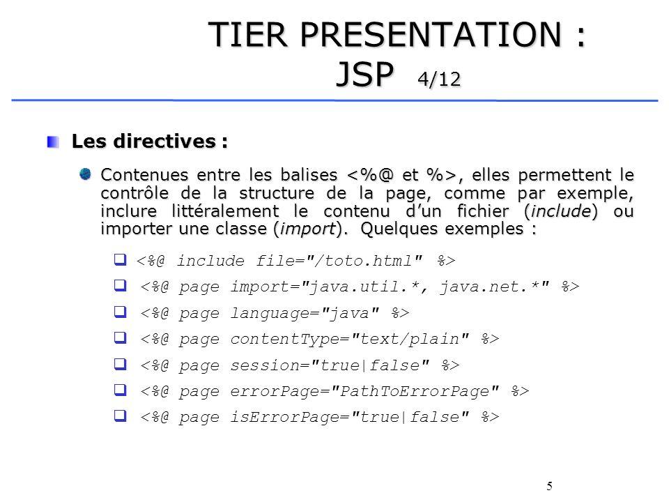 5 TIER PRESENTATION : JSP 4/12 Les directives : Contenues entre les balises, elles permettent le contrôle de la structure de la page, comme par exemple, inclure littéralement le contenu dun fichier (include) ou importer une classe (import).