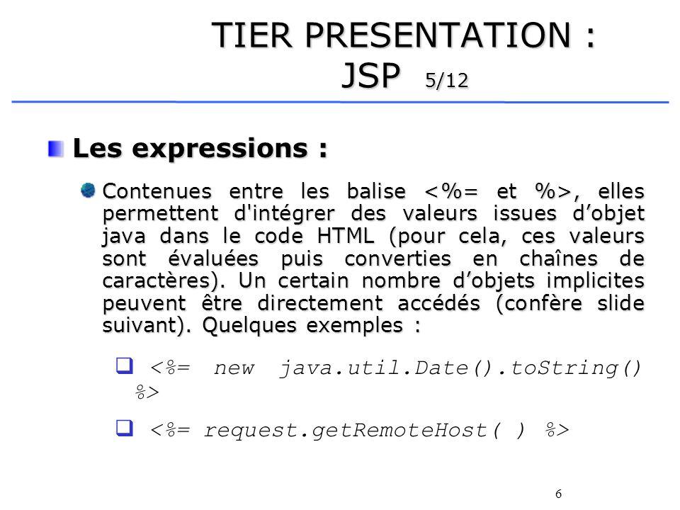 6 TIER PRESENTATION : JSP 5/12 Les expressions : Contenues entre les balise, elles permettent d intégrer des valeurs issues dobjet java dans le code HTML (pour cela, ces valeurs sont évaluées puis converties en chaînes de caractères).