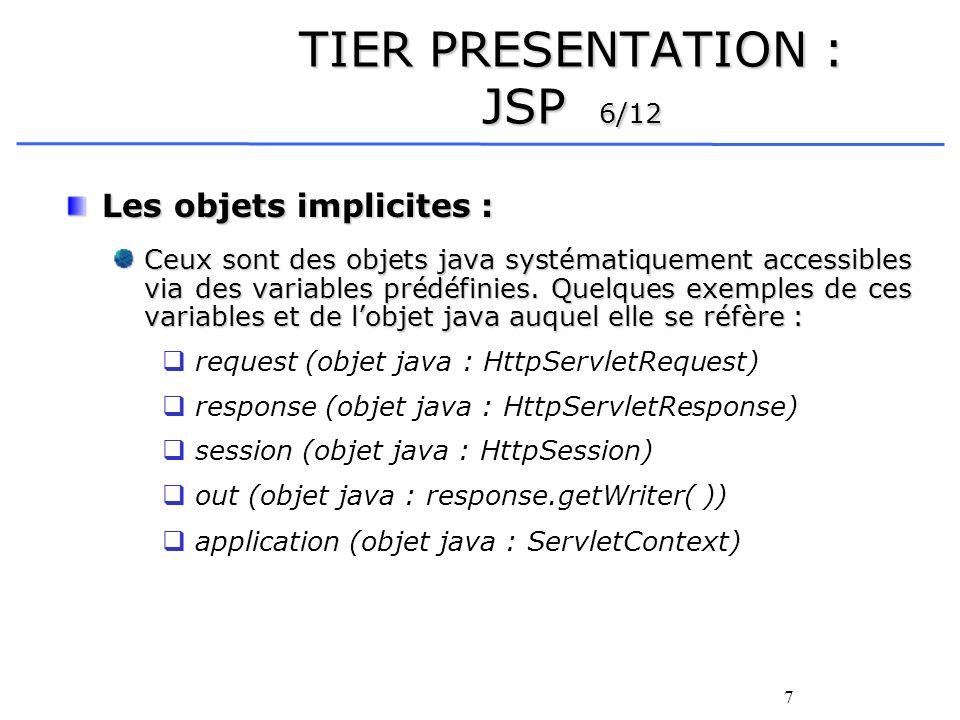 7 TIER PRESENTATION : JSP 6/12 Les objets implicites : Ceux sont des objets java systématiquement accessibles via des variables prédéfinies.