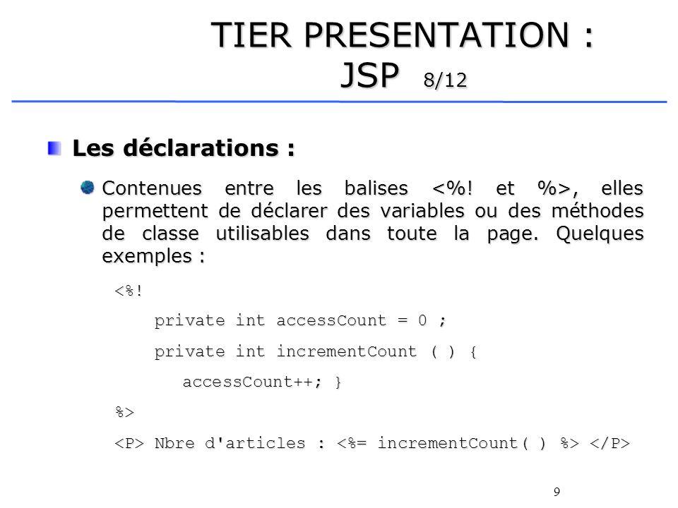 9 TIER PRESENTATION : JSP 8/12 Les déclarations : Contenues entre les balises, elles permettent de déclarer des variables ou des méthodes de classe utilisables dans toute la page.