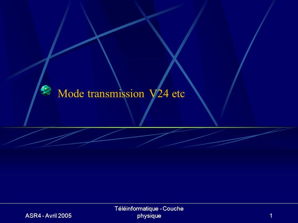 ASR4 - Avril 2005 Téléinformatique - Couche physique1 Mode transmission V24 etc