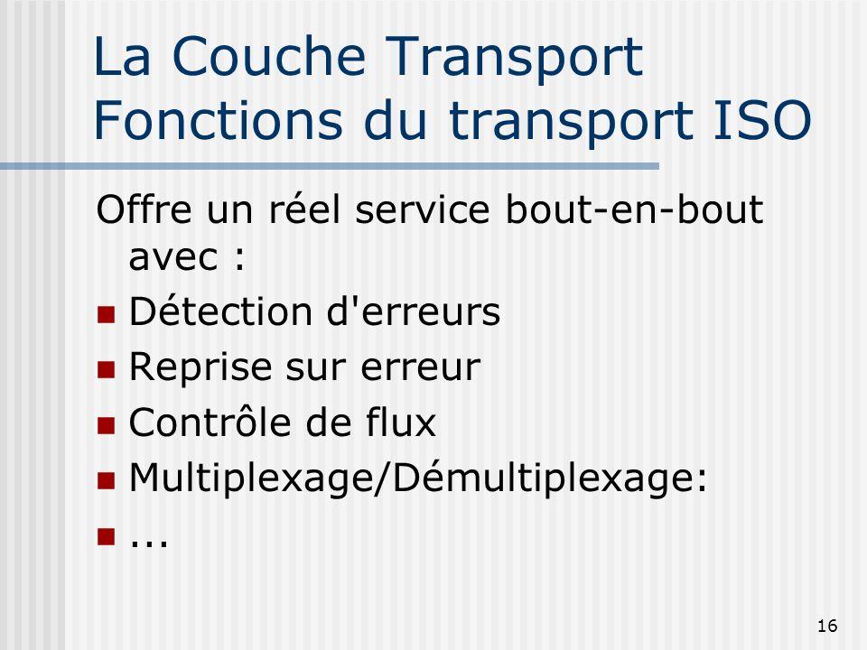 16 La Couche Transport Fonctions du transport ISO Offre un réel service bout-en-bout avec : Détection d'erreurs Reprise sur erreur Contrôle de flux Mu