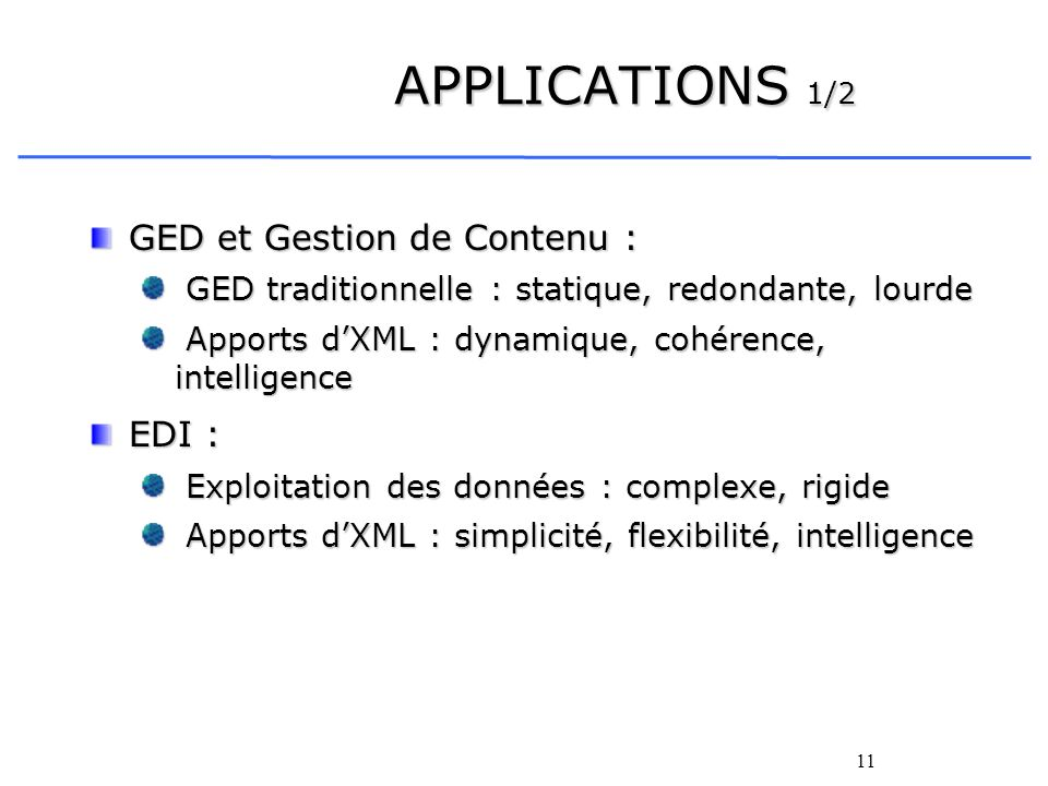 11 APPLICATIONS 1/2 GED et Gestion de Contenu : GED traditionnelle : statique, redondante, lourde GED traditionnelle : statique, redondante, lourde Ap