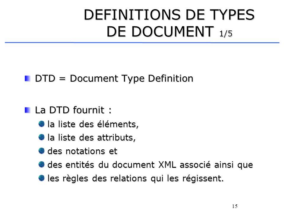 15 DTD = Document Type Definition La DTD fournit : la liste des éléments, la liste des attributs, des notations et des entités du document XML associé