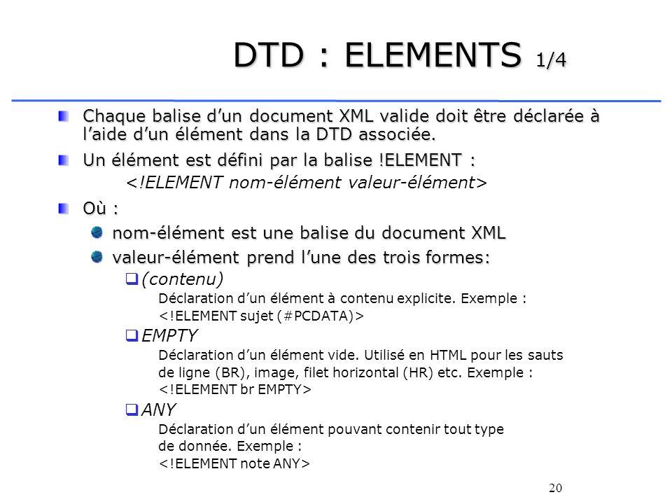 20 DTD : ELEMENTS 1/4 Chaque balise dun document XML valide doit être déclarée à laide dun élément dans la DTD associée. Un élément est défini par la