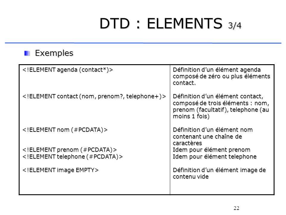 22 DTD : ELEMENTS 3/4 Exemples Définition dun élément agenda composé de zéro ou plus éléments contact. Définition dun élément contact, composé de troi