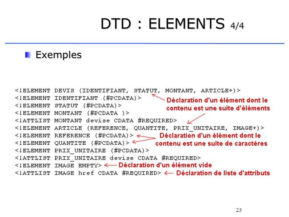 23 DTD : ELEMENTS 4/4 Exemples