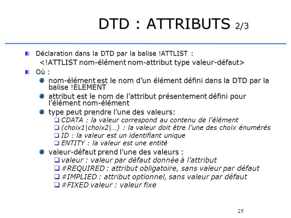 25 DTD : ATTRIBUTS 2/3 Déclaration dans la DTD par la balise !ATTLIST : Où : nom-élément est le nom dun élément défini dans la DTD par la balise !ELEM