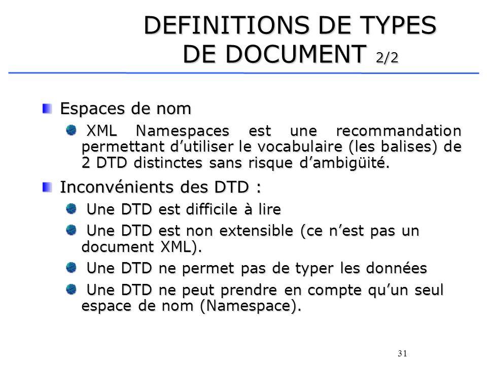 31 DEFINITIONS DE TYPES DE DOCUMENT 2/2 Espaces de nom XML Namespaces est une recommandation permettant dutiliser le vocabulaire (les balises) de 2 DT