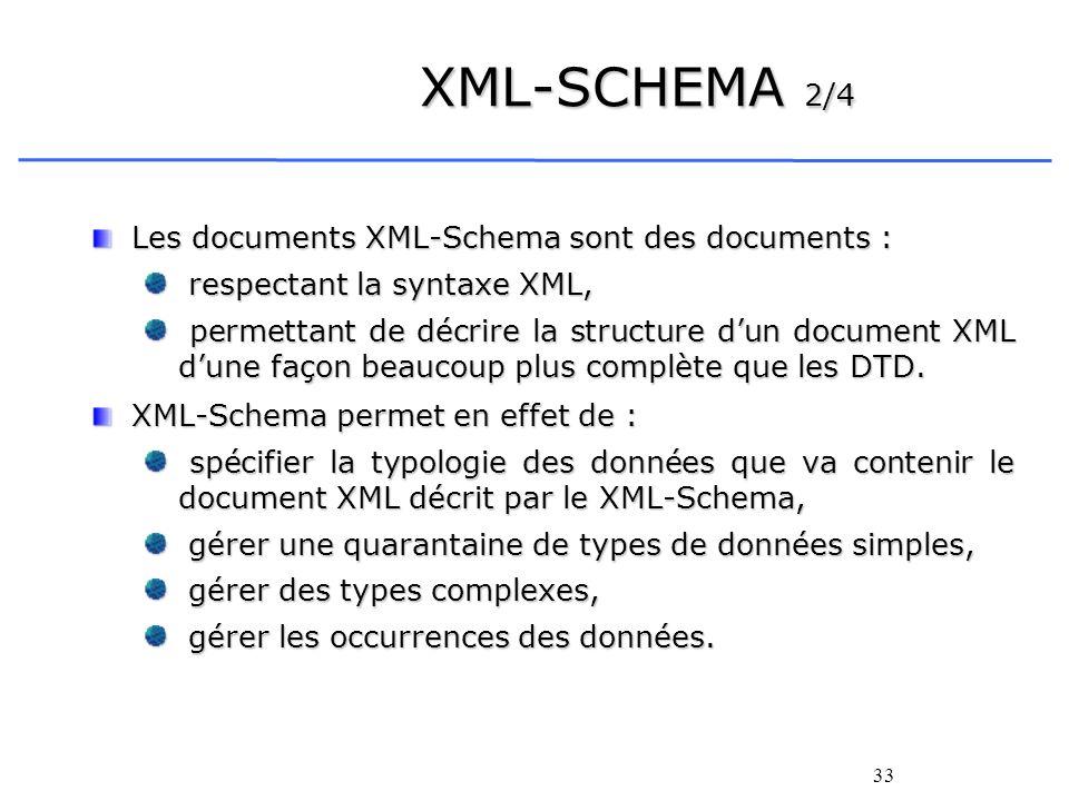 33 XML-SCHEMA 2/4 Les documents XML-Schema sont des documents : respectant la syntaxe XML, respectant la syntaxe XML, permettant de décrire la structu