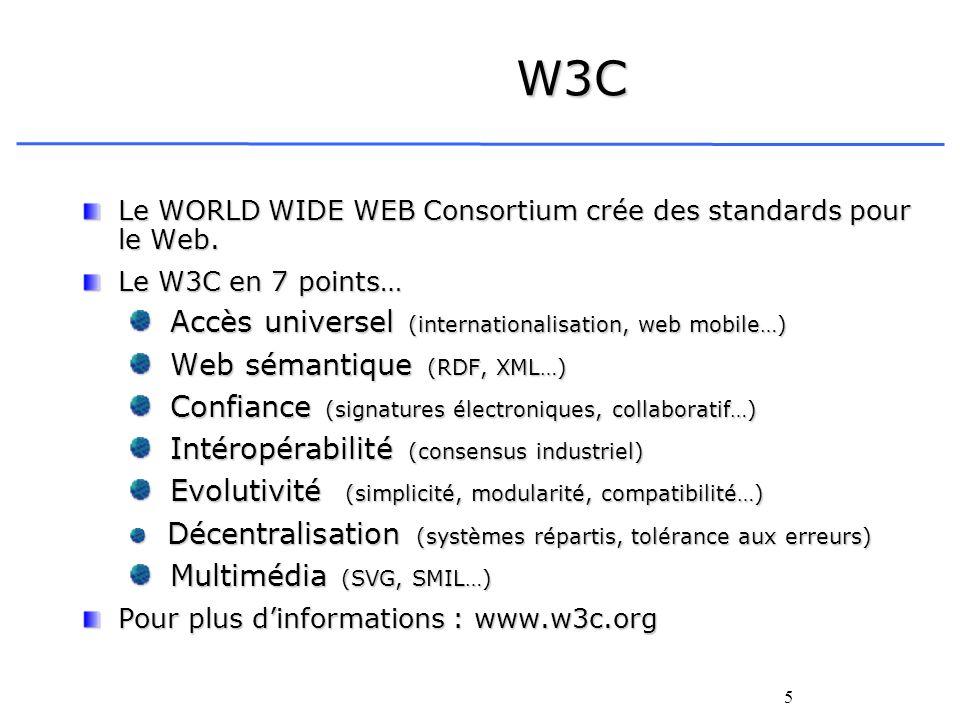 5 W3C Le WORLD WIDE WEB Consortium crée des standards pour le Web. Le W3C en 7 points… Accès universel (internationalisation, web mobile…) Accès unive