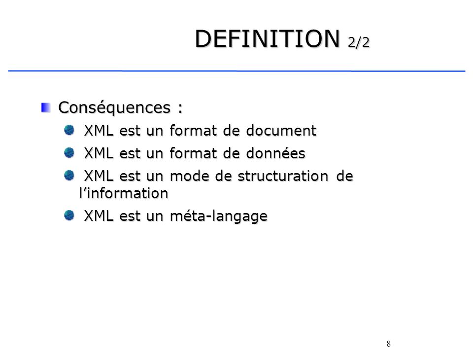 39 Constituants dun XML-SCHEMA 4/8 Déclaration des types de données : Types complexes : Types complexes : Exemple : le type de données TypeAdresse se compose de 6 éléments Numero, Rue1, Rue2, Ville, CP et Pays :